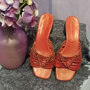 Etienne Aigner Red Leather Sandals Sz8